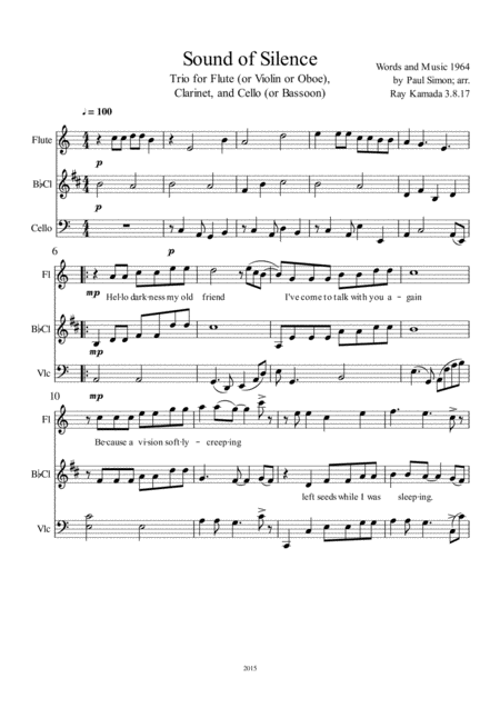 The Sound Of Silence, Trio for Flute (or Violin or Oboe), Clarinet, and Cello (or Bassoon)