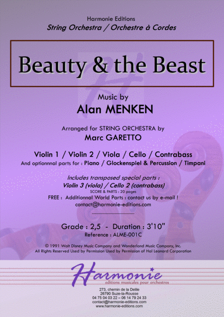 Beauty And The Beast for String Orchestra & Percussion - DISNEY - Alan MENKEN - arr. Marc GARETTO
