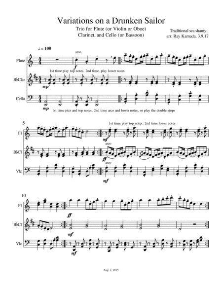 Drunken Sailor Theme and Variations, Trio for Flute (or Violin or Oboe), Clarinet, and Cello (or Bassoon)