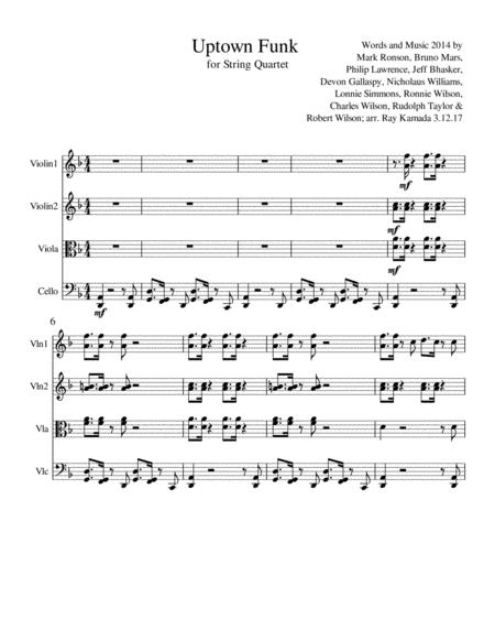 Uptown Funk, for String Quartet
