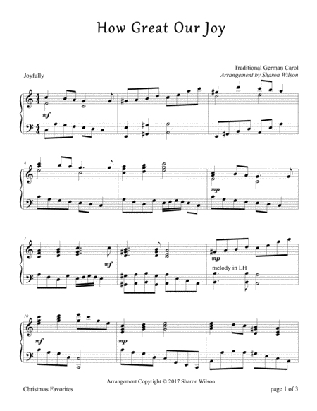 How Great Our Joy (Piano Solo)