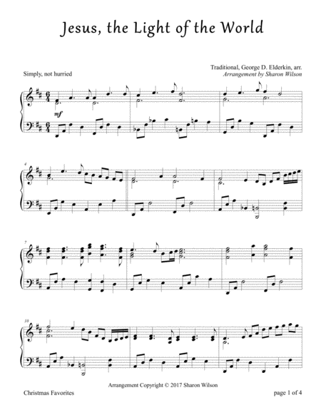 Jesus, the Light of the World (Piano Solo)