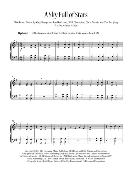 A Sky Full Of Stars (Easy Piano)