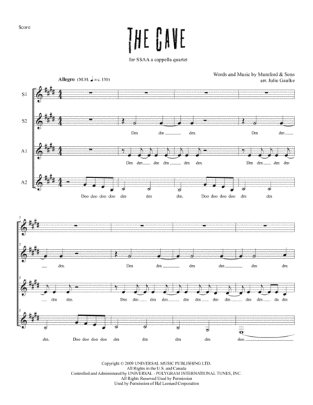 The Cave (Mumford & Sons) for SSAA a cappella quartet