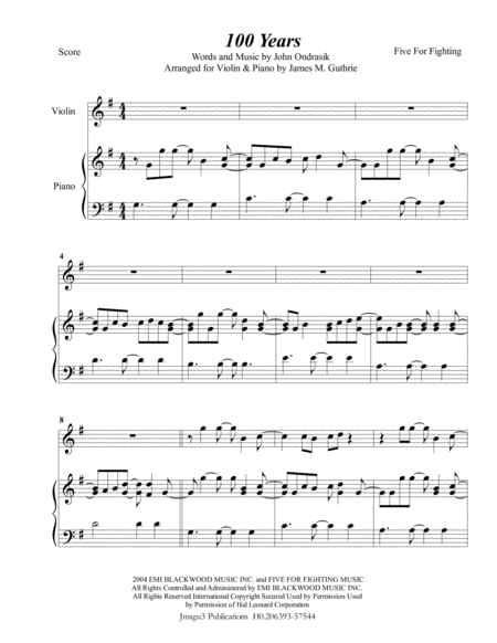 100 years piano sheet music pdf