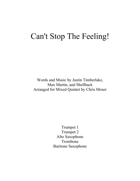 Can't Stop The Feeling! (mixed brass and woodwind quintet)