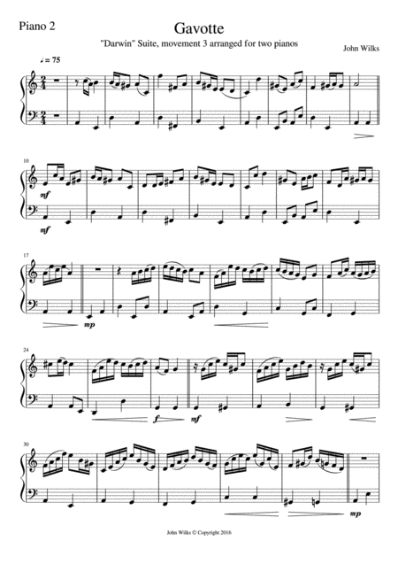 Gavotte for 2 Pianos