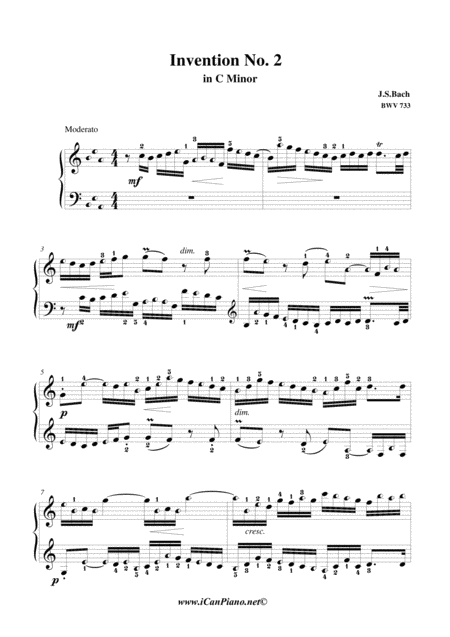 Invention 2 in Cm, BWV 773, J.S. Bach - iCanPiano style