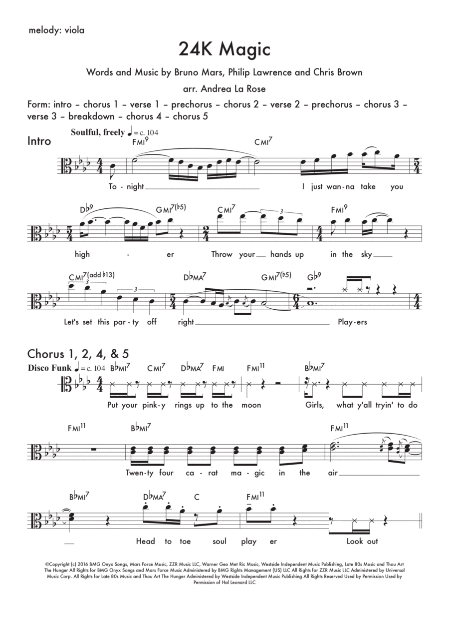 24K Magic — lead sheet for viola