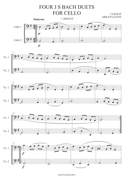 Cello duets - 4 duets from Bach's 'Little notebook'.