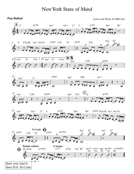New York State Of Mind - Lead Sheet