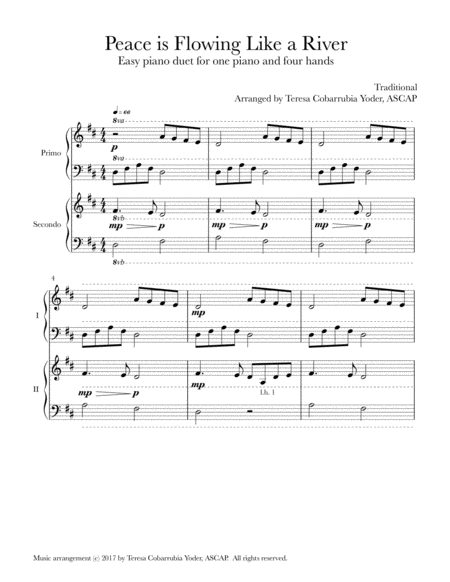 Peace is Flowing Like a River - An Easy Piano Duet by Teresa Cobarrubia Yoder