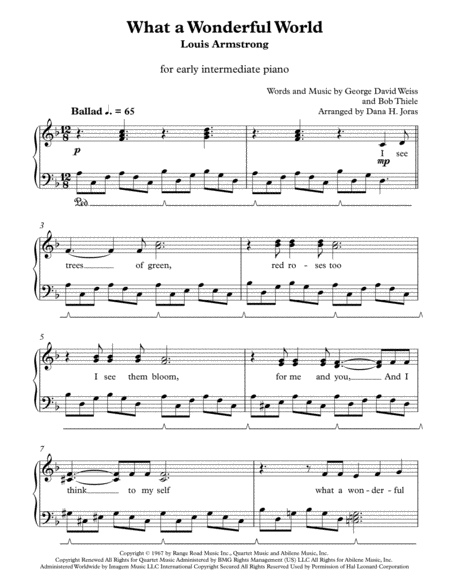 What A Wonderful World for early intermediate piano