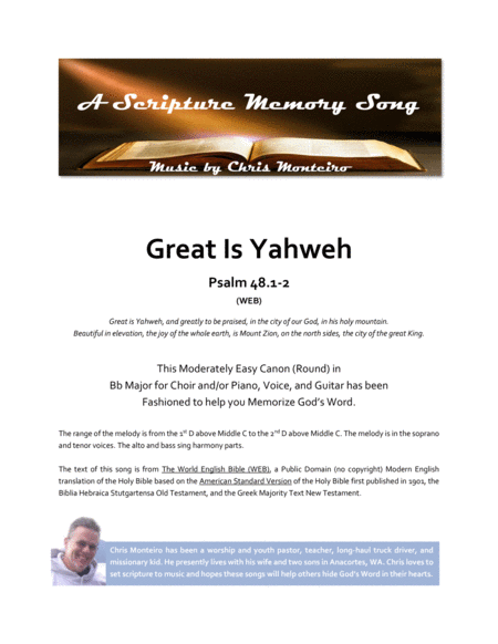 Great Is Yahweh (Psalm 48.1-2 WEB)