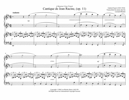 Cantique de Jean Racine - Gabriel Fauré for piano duet, four hands, one piano
