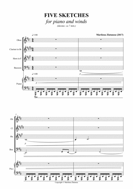 FIVE SKETSCHES, Quintet for Woodwinds (Oboe, Clarinet in Bb, Horn, Bassoon), and Piano