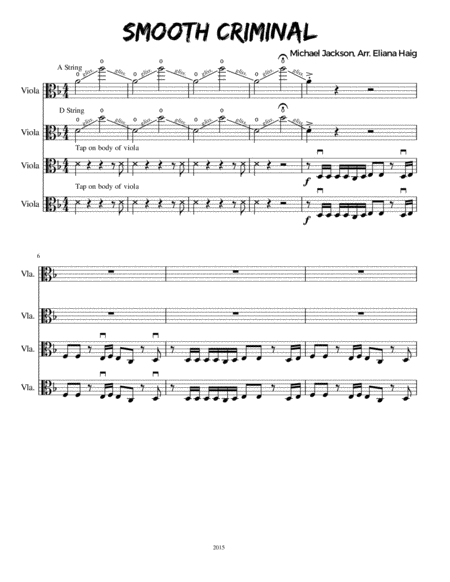 Smooth Criminal for Viola Quartet or Viola Ensemble