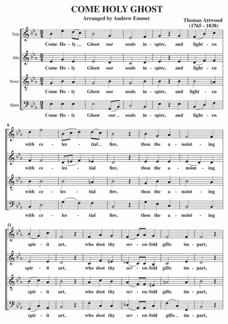 Come Holy Ghost SATB A Cappella