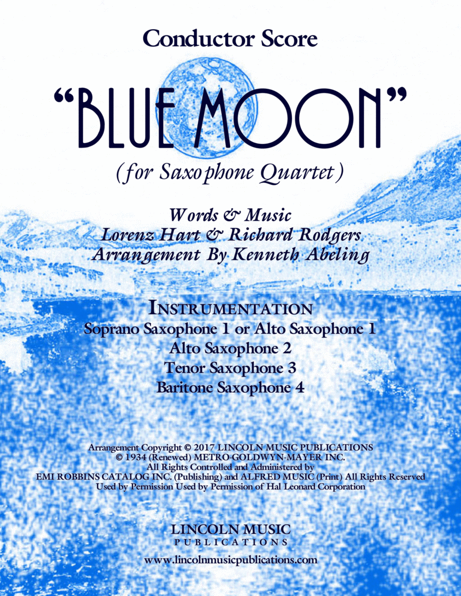 Blue Moon (for Saxophone Quartet SATB and AATB)
