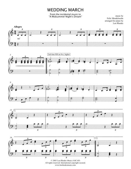Wedding March - Felix Mendelssohn, for piano solo