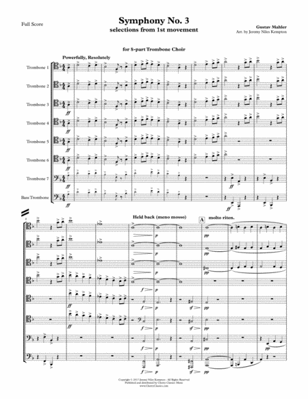 Symphony No. 3, selections from the 1st movement for 8-part Trombone Choir