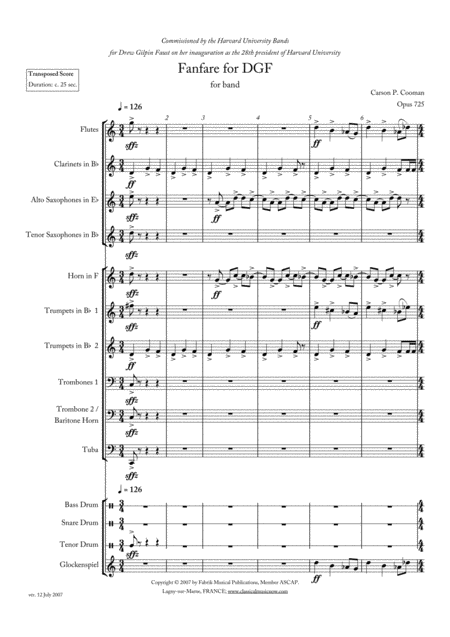 Carson Cooman: Fanfare for DGF, version for concert band (score and parts)