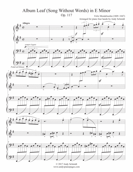 Album Leaf (Song Without Words) in E Minor, Op. 117