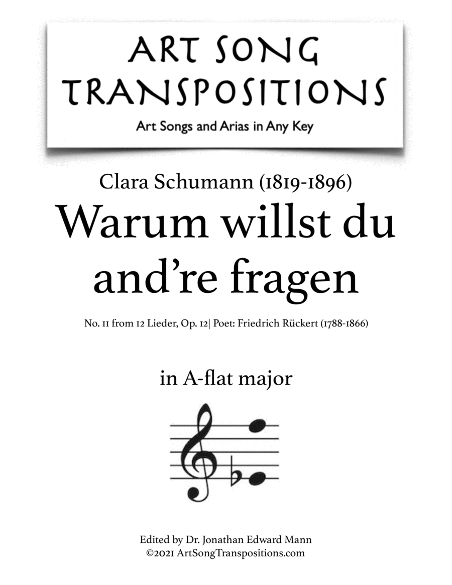Warum willst du and're fragen, Op. 12 no. 11 (A-flat major)