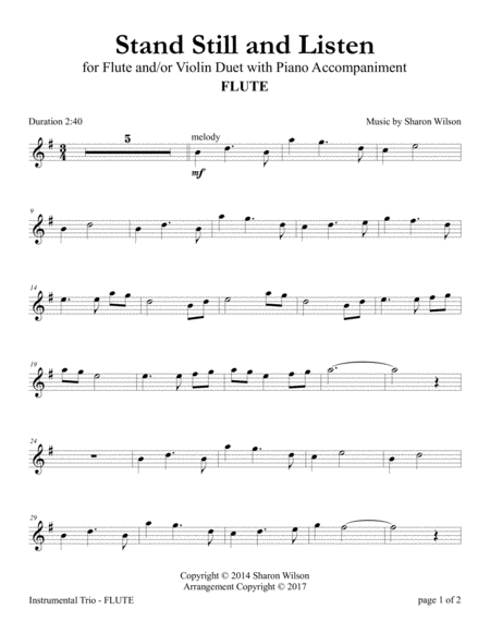 Stand Still and Listen (Flute and/or Violin Duet with Piano accompaniment)