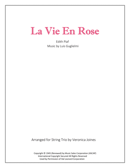 La Vie En Rose for String Trio (with optional Violin 2 part)