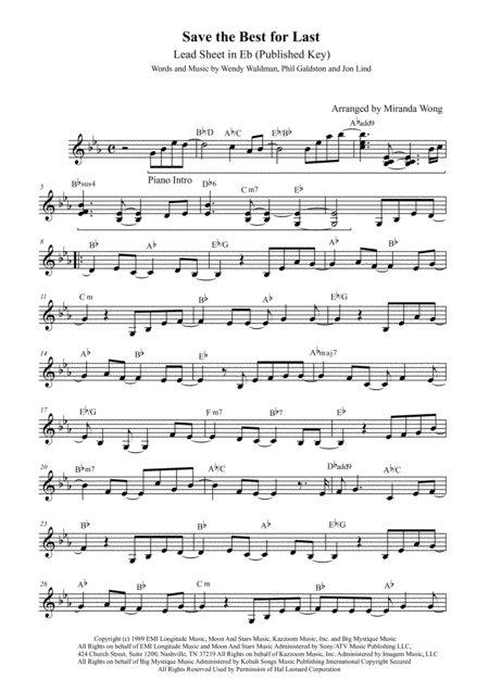 Save The Best For Last - Lead Sheet in Published Eb Key (With Chords)