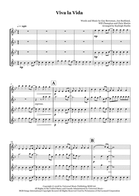 Viva La Vida by Coldplay - Saxophone quartet (SATB)
