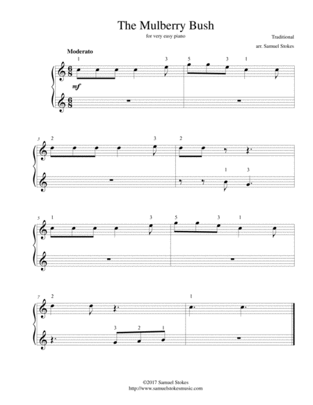 (Here We Go Round) The Mulberry Bush - for very easy piano