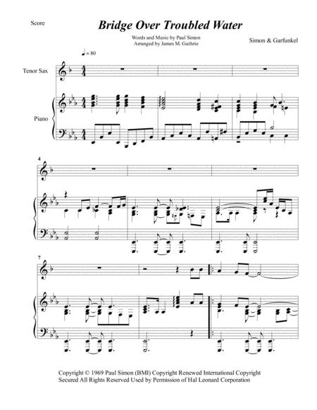 Simon & Garfunkel: Bridge Over Troubled Water for Tenor Sax & Piano