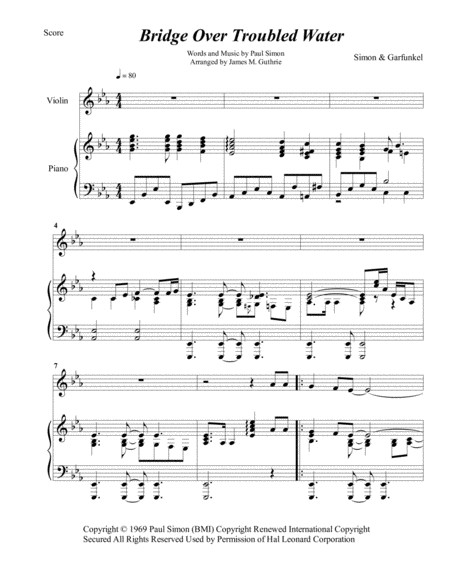 Simon & Garfunkel: Bridge Over Troubled Water for Violin & Piano