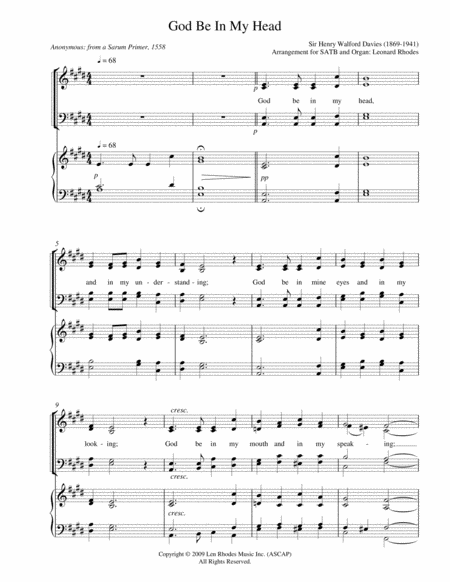 God Be In My Head - for SATB and keyboard accompaniment