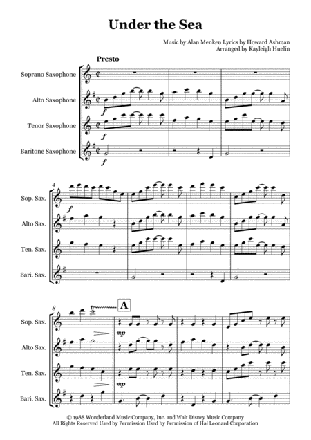 Under The Sea - Saxophone quartet (SATB)