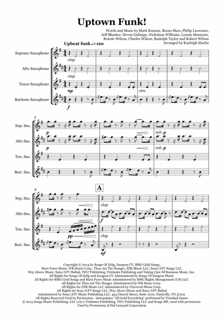 Uptown Funk by Mark Ronson ft. Bruno Mars - Saxophone quartet (SATB)