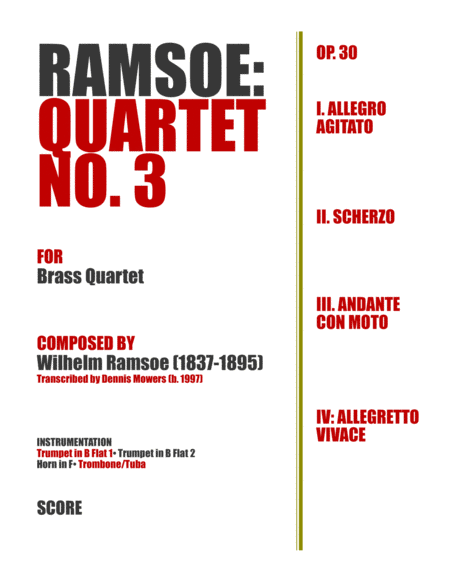 Quartet No. 3 for Brass - Wilhelm Ramsoe, Op. 30