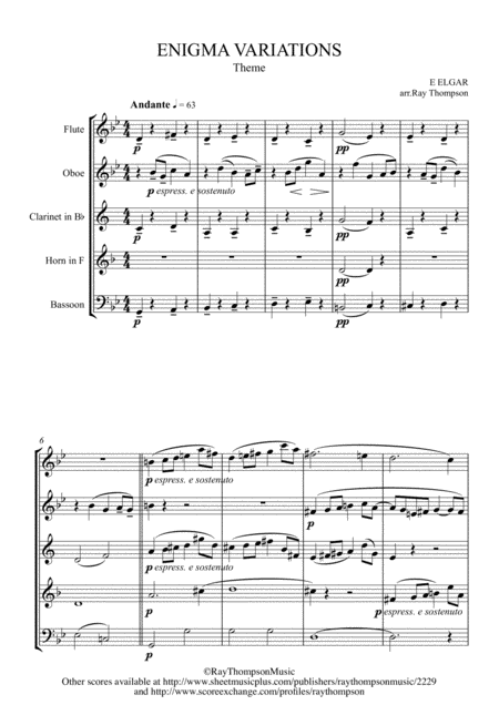 Elgar: Theme and Eight Variations (including Nimrod) from Enigma Variations Op.36 - wind quintet