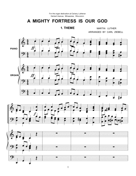 A Mighty Fortress -- Organ/Piano Duet