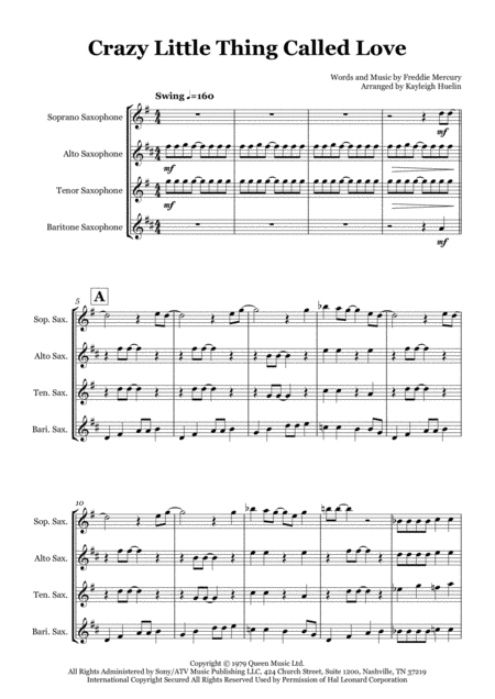 Crazy Little Thing Called Love - Saxophone quartet (SATB)