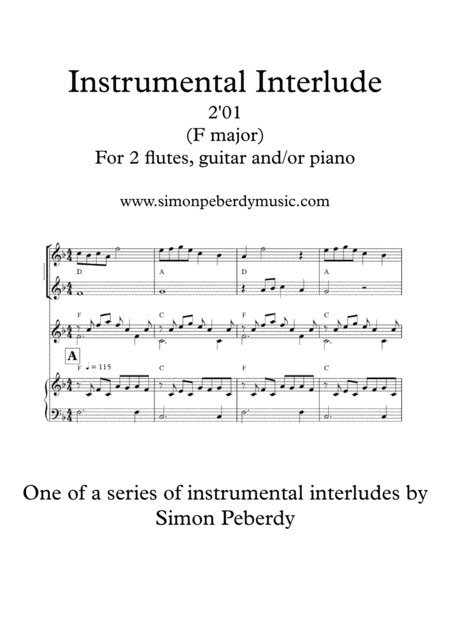 Melodious Instrumental Interlude 2'01 in F for 2 flutes, guitar and/or piano by Simon Peberdy