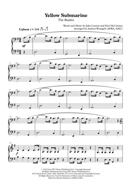 Yellow Submarine (Easy Piano)
