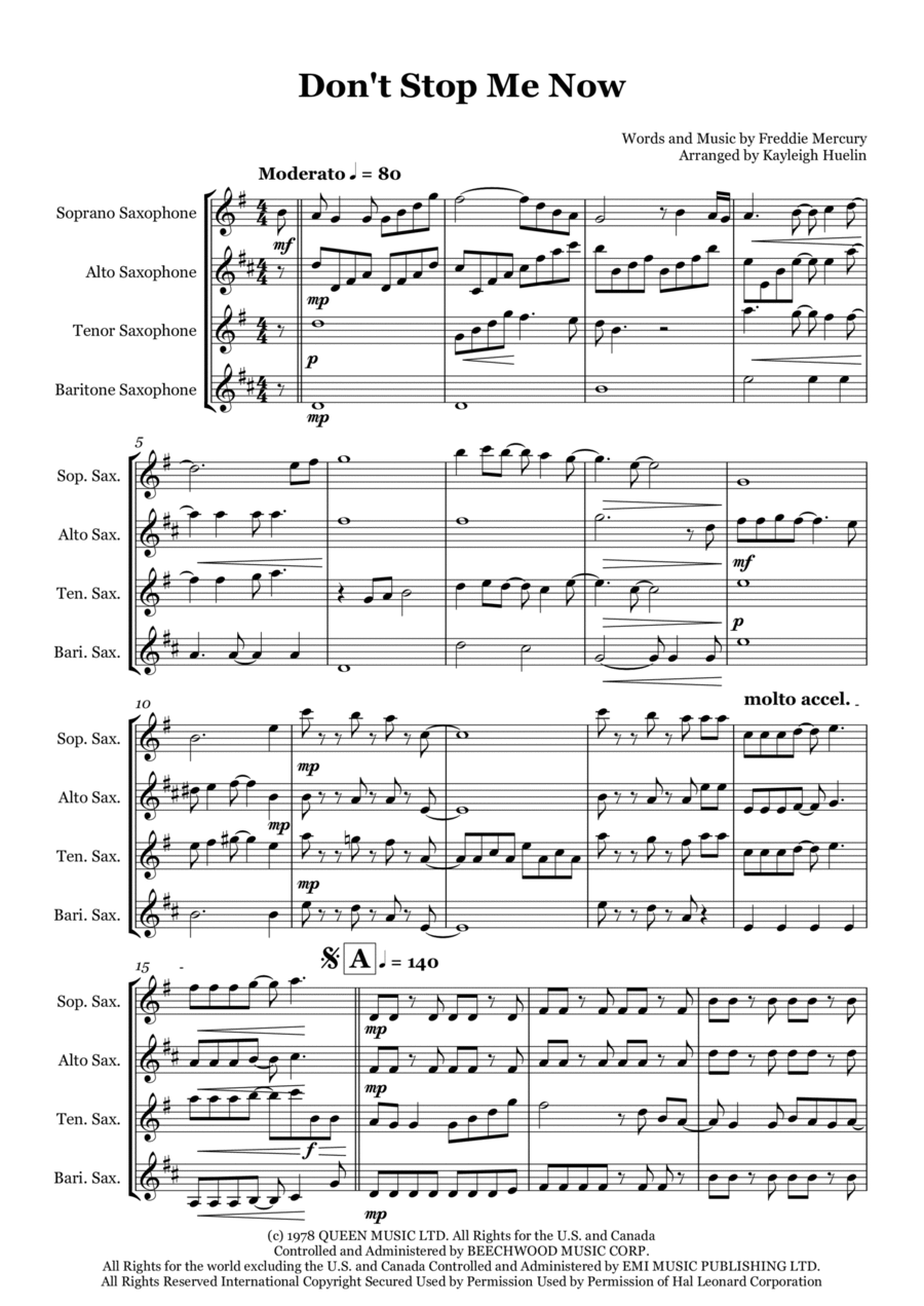 Don't Stop Me Now - Saxophone quartet (SATB)
