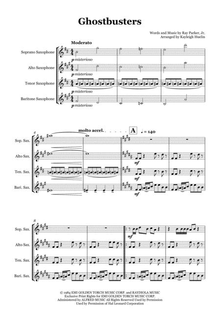 Ghostbusters - Saxophone quartet