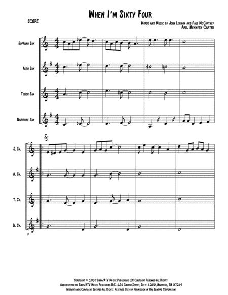 When I'm Sixty-Four (SATB Saxophone Quartet)