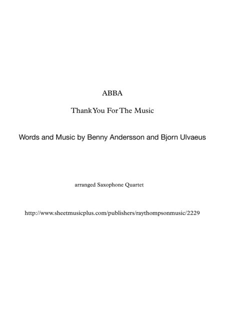 ABBA: Thank You For The Music - saxophone quartet