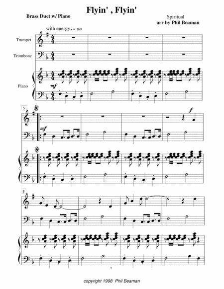 Flyin', Flyin' - Trumpet/Trombone duet with Piano