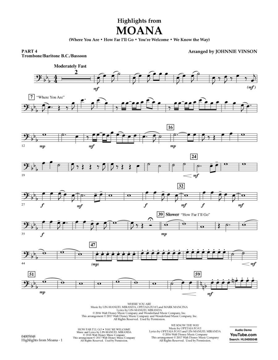 Highlights from Moana - Pt.4 - Trombone/Bar. B.C./Bsn.